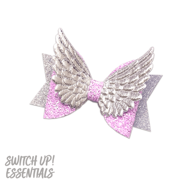 Lilac and Silver Angel Bow