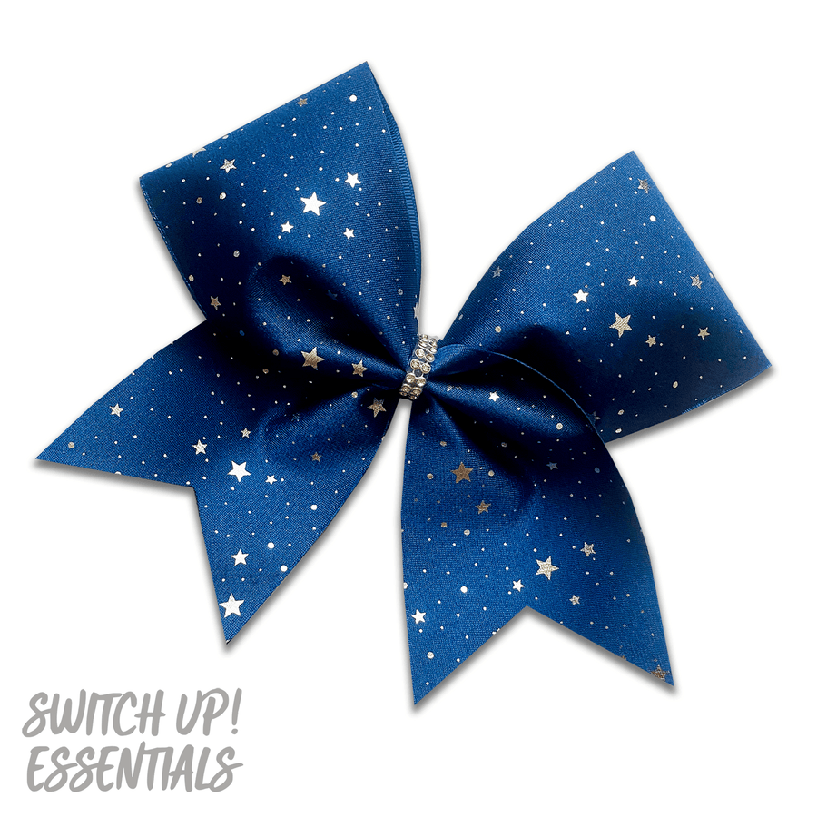 Navy & Silver Stars Cheer Bow
