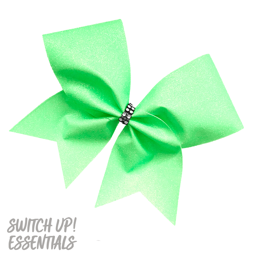 Pastel Green Glitter Cheer Bow