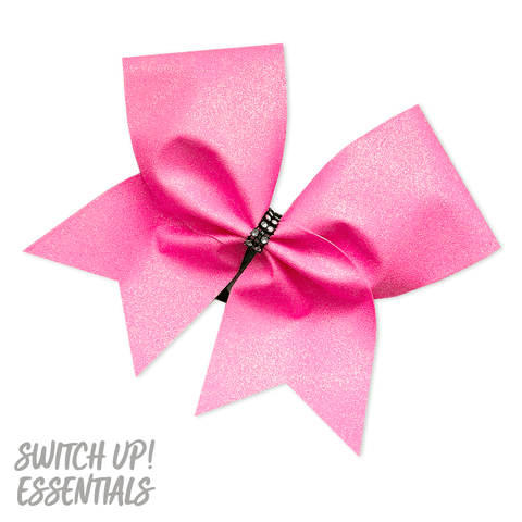 Neon Pink Glitter Cheer Bow