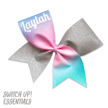 Custom Name - Pastel Ombre Glitter Cheer Bow