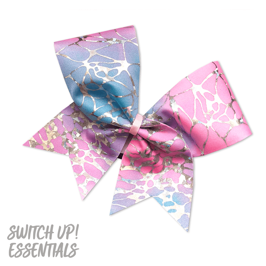 Pink & Blue Crackle Cheer Bow