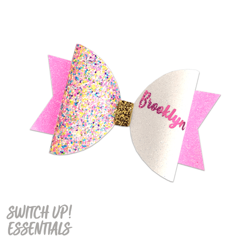Pink Sprinkles Name Bow