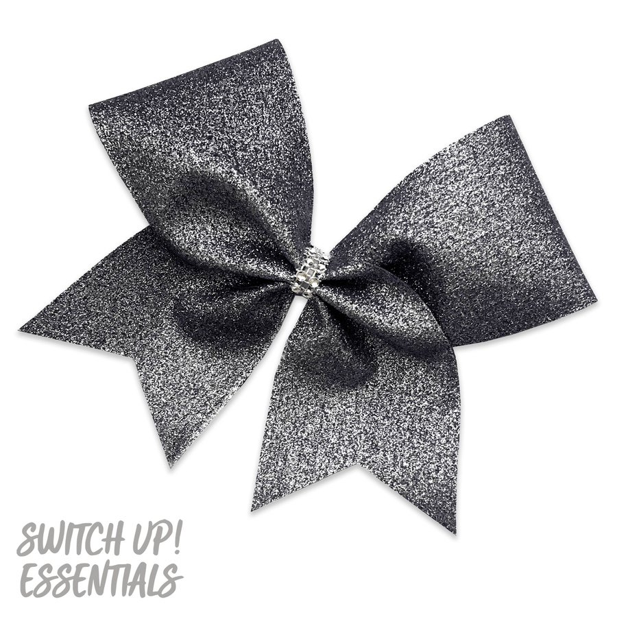 Platinum Glitter Cheer Bow