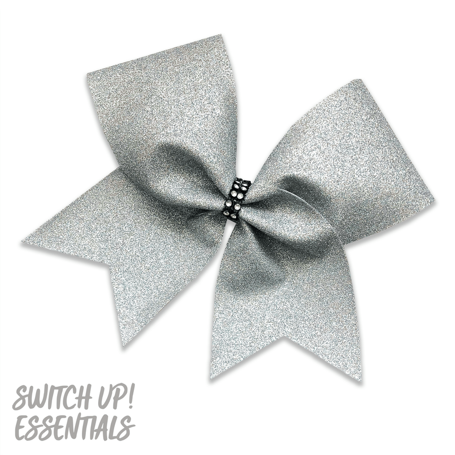 Rainbow Silver Glitter Cheer Bow