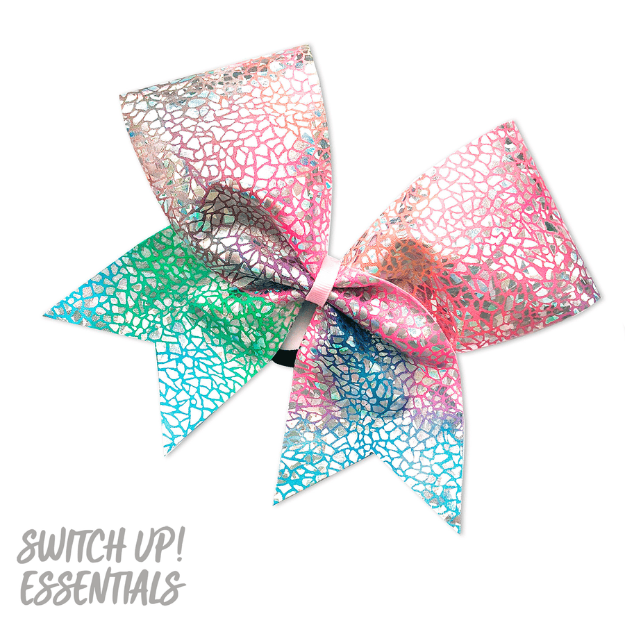 Rainbow Crackle Cheer Bow