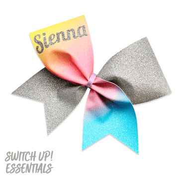 Custom Name - Pastel Summer Glitter Cheer Bow