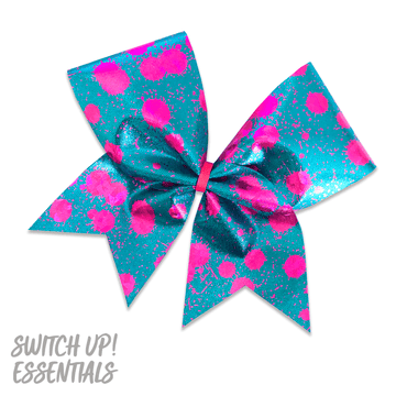Teal and Pink Splatter Cheer Bow