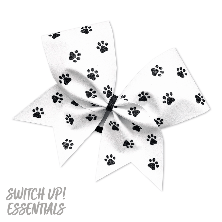 White Paw Print Cheer Bow