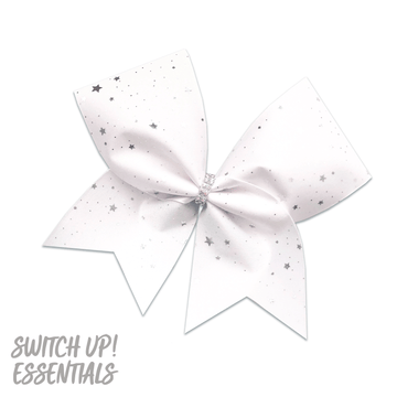 White & Silver Stars Cheer Bow