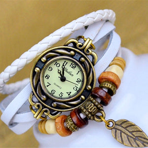 Handsome Women's Leather Bracelet Watches With Vintage Leaf - Garden Gift Hub