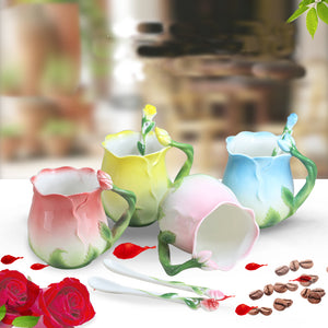 Charming Rose Bone China Ceramic Coffee/tea Mug Set With Spoon - Garden Gift Hub