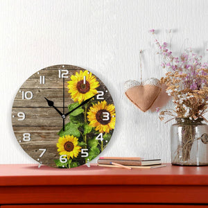Sunflowers Vintage style Wood Print Round Wall Clock