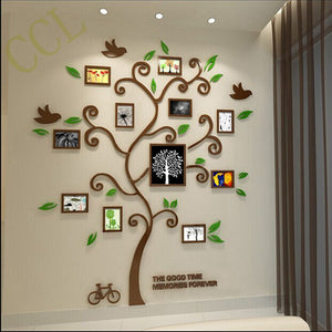 Crystal Acrylic Three-dimensional Family Tree Photo Frames Wall Stickers - Garden Gift Hub