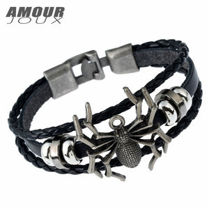 Leather Braided Spider Charm Bracelet For Women & Men - Garden Gift Hub