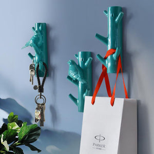 Decorative Wall Sculpture Bird and Branch Hooks - Garden Gift Hub