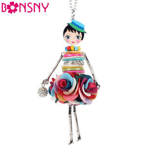 Utterly Adorable Flower Power Doll Pendant Necklace - Garden Gift Hub