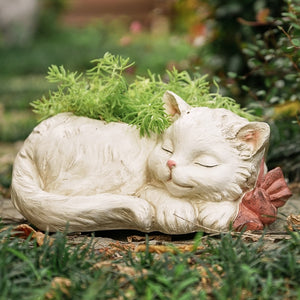 Sleepy Cat Planter For Your Garden or Home