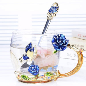 Flower Glass Coffee or Tea Cups & Mugs with spoons, Lids and Saucers - Garden Gift Hub