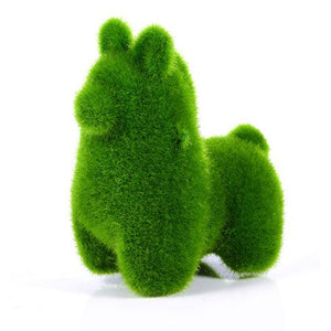 Utterly Charming 4 Furry Green Simulated Grass Animals - Garden Gift Hub
