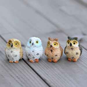 4 Very Special Miniature Owls. Fairy Garden Resin Animal Figurines to Fall in Love With - Garden Gift Hub