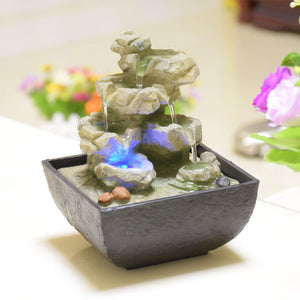 Decorative Indoor Water Fountains Resin Crafts Gifts Feng Shui Wheel Desktop Water Fountain for Home Office Teahouse Decoration - Garden Gift Hub