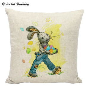 Bunnies and More Bunnies! Snuggly Ones, Naughty Ones and Baby Bunnies, All on Linen Cushion Covers - Garden Gift Hub