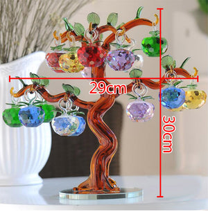 Magnificent Large Crystal Glass Apple Tree Richly Adorned with 18 Brilliant Apples - Garden Gift Hub