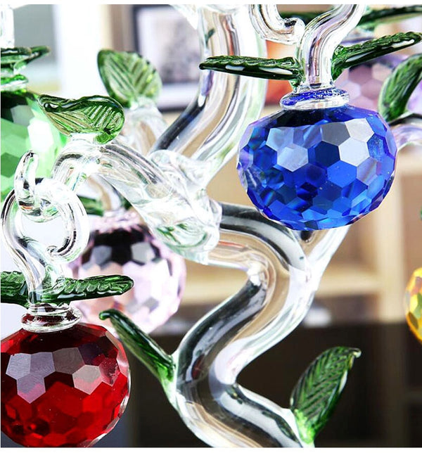 Magnificent Large Crystal Glass Apple Tree Richly Adorned
