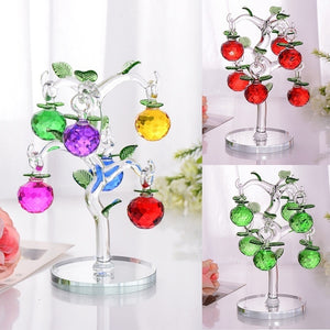 Lovely Crystal Glass Apple Tree with 6 Apples - Garden Gift Hub