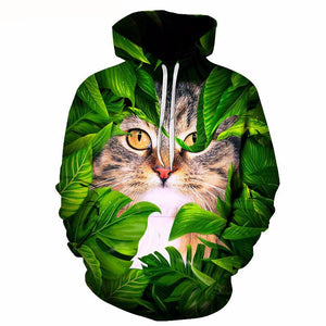 Sweatshirt Hoodie Unisex Printed Cat and Leaves Hooded Pullover - Garden Gift Hub