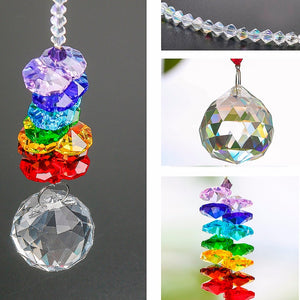 Beautiful Prism Glass Crystal Sun Catchers  Hanging Chandelier Rainbow Maker Pendant - Garden Gift Hub