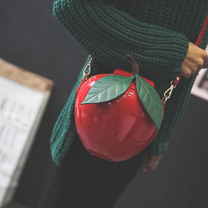 Cute Fashion Apple Shaped Red & Green Ladies Shoulder Bags - Garden Gift Hub