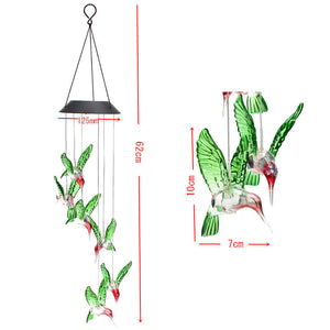 Swinging, Winging Humming Bird LED Solar Light Wind Chimes - Garden Gift Hub