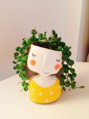 Fall in Love with a Flower Girl Plants Vase. Mini Bonsai Succulent or Cactus Planter - Garden Gift Hub