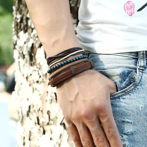 Oh So Fashionable Cool, Earthy Punk,  So Must-Have. All Natural Leather, Rope, Wood & Metal Bracelets for Men and Women - Garden Gift Hub