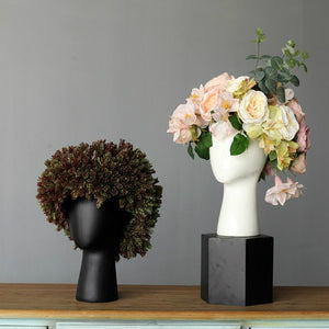 The WIG Vase by Tania da Cruz. Scandinavian Handmade Porcelain Head Vase - Garden Gift Hub
