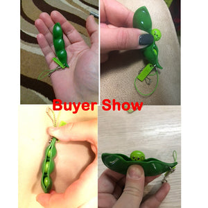 Squeeze Peas! Anti-stress Magic Extrusion Peas or Beans in Pod Double as a Key or Phone Chain - Garden Gift Hub
