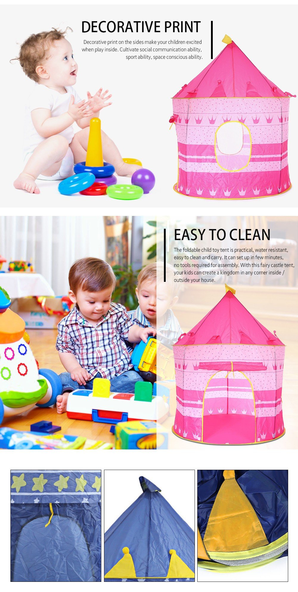 Childrens Foldable, Portable Castle Tent Fun Teepee Cubby Playhouse For