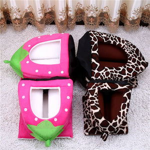 A Cosy & Soft Home For Your Pet. Strawberry or Leopard Igloo Pet Dog Cat Bed House - Garden Gift Hub