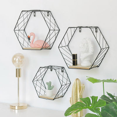 Just What You Need  Attractive and Functional Natural Wood & Metal  Hexagonal Grid Wall Shelf