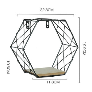 Just What You Need. Attractive and Functional Natural Wood & Metal Hexagonal Grid Wall Shelf - Garden Gift Hub