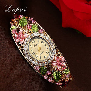 Dazzling Fashion Womens Gold and Gemstone Flower Bracelet Watches - Garden Gift Hub