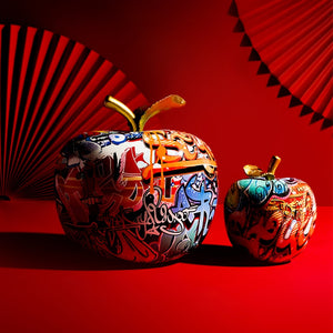 Painted Apple Resin Sculpture with Rich Detail and Colors