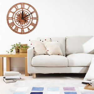Sunflower Wooden Wall Clock Antique Style - Garden Gift Hub