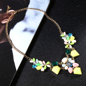 Colorful, Fashionable, Gem Flowers Necklace Jewelry - Garden Gift Hub