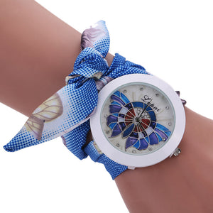 Unique Ladies Butterfly Fabric Bracelet Wristwatches - Garden Gift Hub