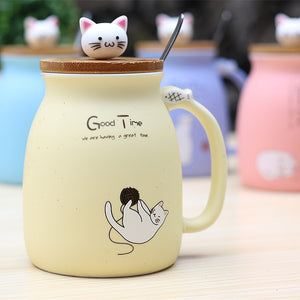 Trendy Sesame Cat Heat-resistant Ceramic Cup With Spoon and Bamboo Lid - Garden Gift Hub