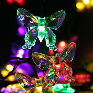 Dazzling Butterfly Solar LED Lights. Colorful Butterfly Garland String - Garden Gift Hub