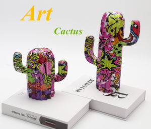 Ultra Modern Painted Cactus Resin Ornaments